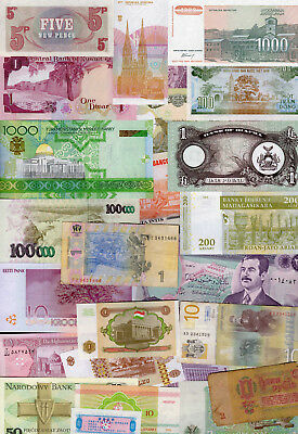 Set of 25 Different Banknotes 25 Different Countries Brazil Kuwait Nepal #F