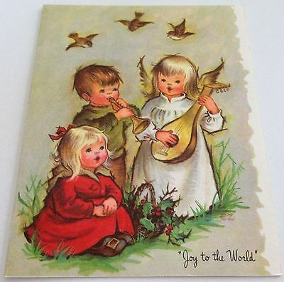 Used Vtg Christmas Card Joy to the World w Cute Angel and Kids with Birds