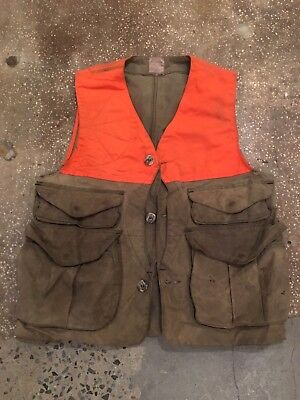 Vintage Filson Waxed Cotton Olive and Blaze Upland Hunting Vest 433