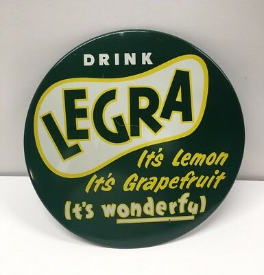 Vintage 1950's LeGra Soda Pop Tin Over Cardboard TOC Button Sign Chicago, IL