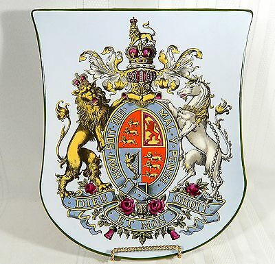 Rare Antique VILLEROY & BOCH Plaque Shield Royal Coat of Arms United Kingdom