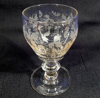 Antique 1842 Toasting Wine Drinking Glass Engraved w/ Note Denmark Junget Family
