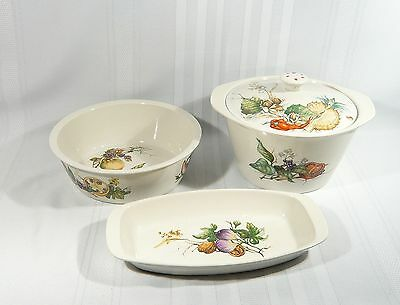 Rare 3 Pc VILLEROY & BOCH Covered BOWL VEGETABLE DISH Tray Botanica FRUITS Nuts