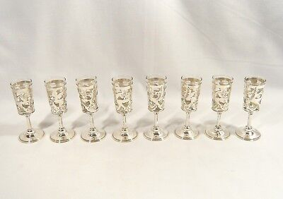 """8 STERLING Silver SHOT Glasses 3 5/8"""" Cordial Liquor Glass HECHO EN MEXICO 925"""