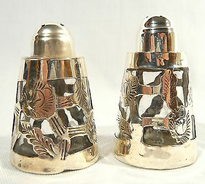 Rare Vintage Sterling Silver & Glass Mexico Salt &  Pepper signed MG