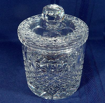 Large FINE Cut CRYSTAL Biscuit / Cookie Barrel Lidded ICE Bucket Candy Jar Glass