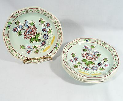 4 Tea Cup Saucers ADAMS England CALYX Ware Floral  OLD BOW 5 7/8 inch