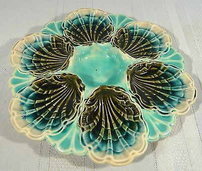 OYSTER PLATE Longchamp FRENCH MAJOLICA Pottery 6 Scallop Shell Seafood