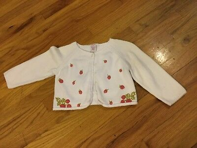 Girls Gymboree vintage sweater size 2T white long sleeve with strawberries