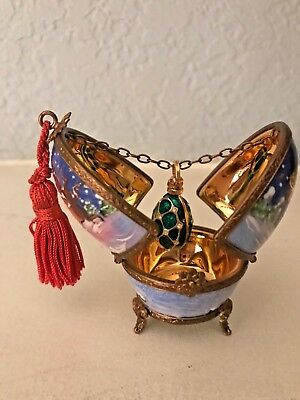 LIMOGES trinket box/ EGG WITH JEWELED SURPRIZE ROCHARD NO RES!