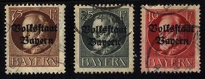1919 GERMANY BAYERN SET OF 3 USED Perf. STAMPS (Michel # 119,122,135) CV €7.50