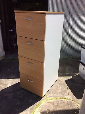 Filing Cabinet 4 Drawer White And Wood grain