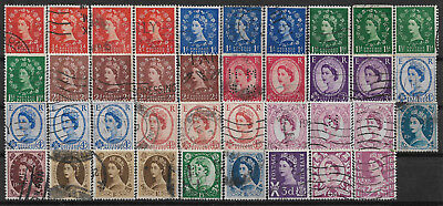 Great Britain Set Of 39 Used Stamps
