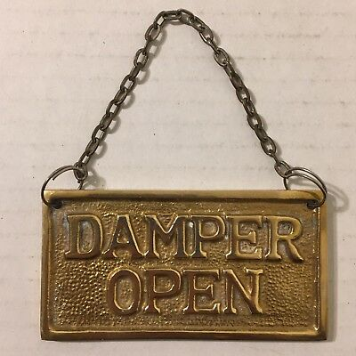 Vintage Damper Open Closed Solid Brass Hanging Sign On Chain Fireplace