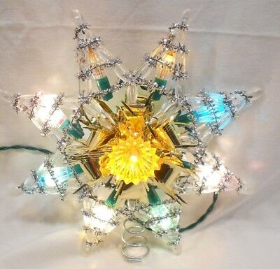 Vintage Lighted Tree Top Star, W/push In Replacement Lamps