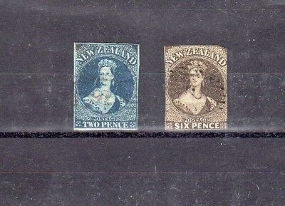 New Zealand - 1862 - Imperf QV fullfaces - used selection