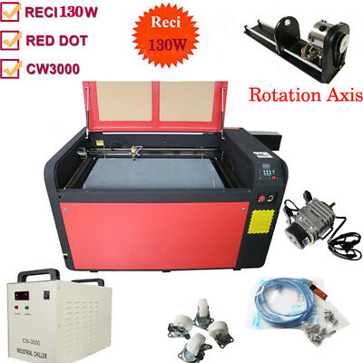 130W 1060 CO2 Laser Engraving Machine Rotary A-AXIS Attachment CW-5000 Chiller
