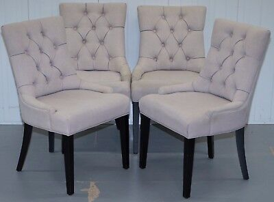 Set Of Four Made.com Dining Chairs Fifth One Available Grey Fabric Chesterfield