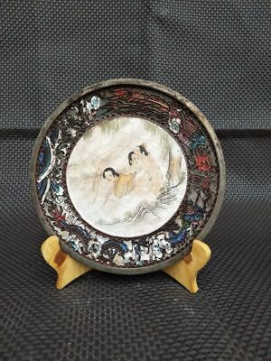 Antique Chinese Sex culture chungong Brass Cloisonne Enameled Plate