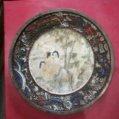 Antique Chinese Sex culture chungong Brass Cloisonne Enameled Plate three