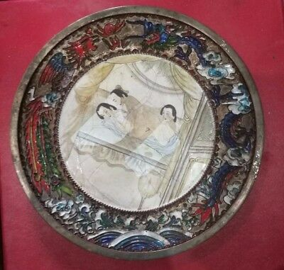 Antique Chinese Sex culture chungong Brass Cloisonne Enameled Plate five
