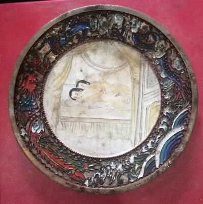 Antique Chinese Sex culture chungong Brass Cloisonne Enameled Plate six