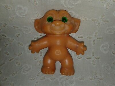 """Vintage  Unmarked TROLL DOLL - No Hair & Green Glass Eyes - 1960s - 2 1/2"""""""