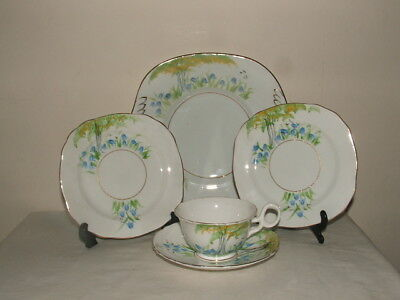 Shelley Art Deco Chester Shaped Handpainted Floral Tea China Truly Stunning