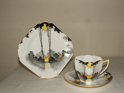 Shelley Art Deco Queen Anne Sunrise & Tall Trees Tea Trio Stunning