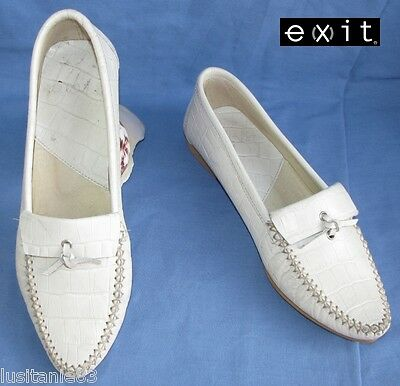 Exit - Mocassin Comfortable Leather Reptile Cream 38 - Very Good Condition