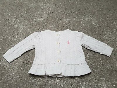 Ralph Lauren Baby Girl Cream Cardigan 6 Months Excellent Condition