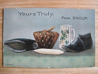 Old postcard clogs weaving Yours truly from BACUP Lancs