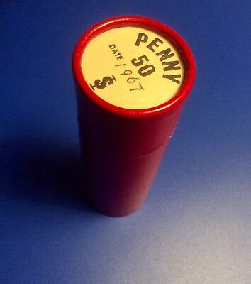 U.K. 1967 aUNC PENNY COINS (50) IN RED TUBE.