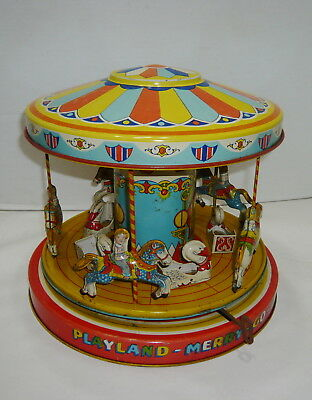 Vintage 1950's J.chein Mechanical Playland Merry-Go-Round Carousel Tin Toy