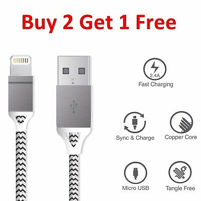 Heavy Duty Metal Braided Lightning USB Charger Cable For iPhone 5 6 7 Plus