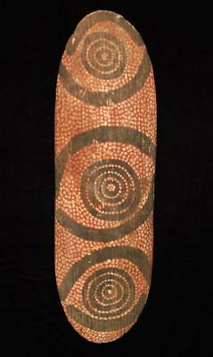 Old Central Australian Aboriginal Carved Bean Wood Ochre Painted Shield Kutitji