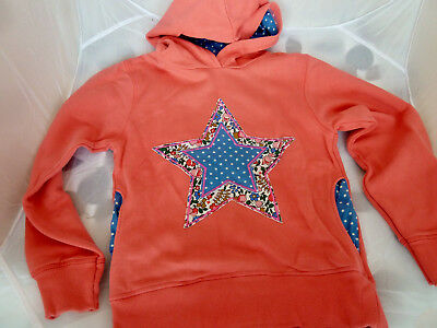Mini Boden applique girls hoodie, pink / salmon star - size 11-12 years