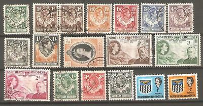 Northern Rhodesia: Selection of Eighteen Mint & Majority Used Stamps