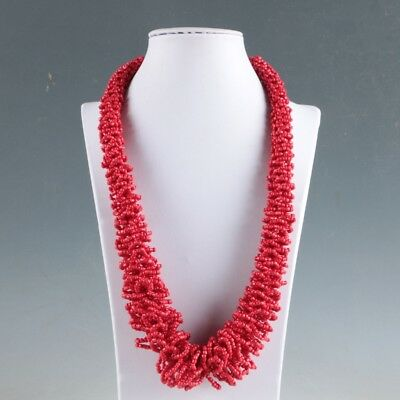 Collectibles Decorated Handwork Tibet Red Coral Necklaces LXL067