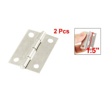 "2X( 2 Pcs Silver Cabinet Drawer Door Stainless Steel Butt Hinges 1.5"" Length S*"