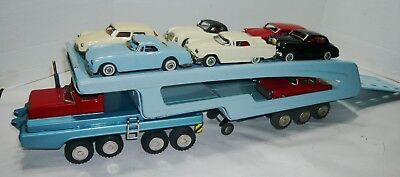 Rare Vintage Sears Toy Friction Sss International Car Carrier/hauler W/8 Cars