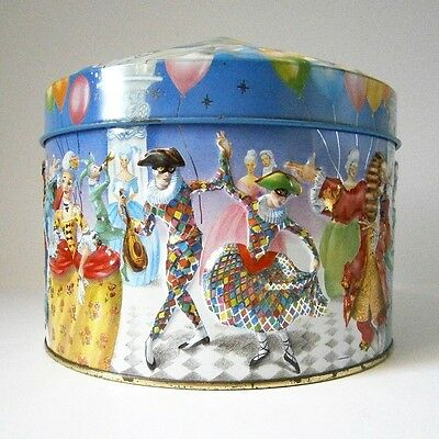 COLLECTABLE CHURCHILL'S ENGLISH TOFFEES EMBOSSED HARLEQUIN BALL TIN Crinolines