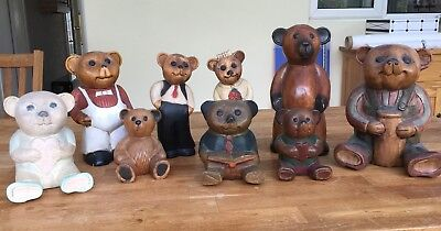 Wooden Carved Teddy Bears