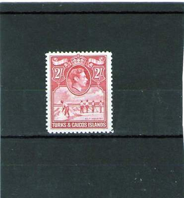 TURKS & CAICOS ISLANDS KING GEORGE V1 MINT STAMP 2 shillings