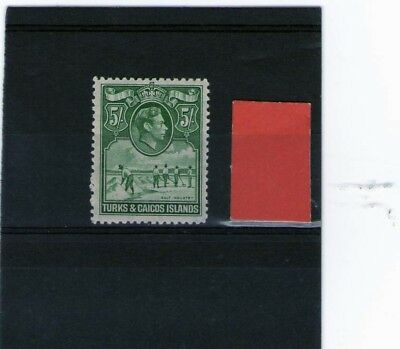 TURKS & CAICOS ISLANDS KING GEORGE V1 MINT STAMP 5 shillings