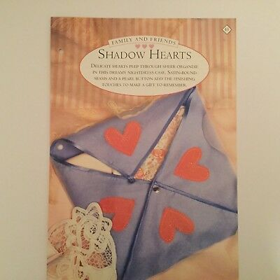 Needlework pattern: Shadow heart embroidered nightdress case design