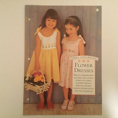 Needlework pattern: Embroidered flower dresses for little misses