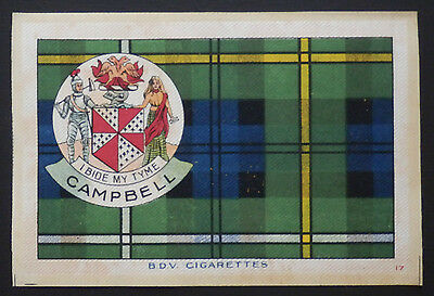 "CAMPBELL CLAN Tartan and Coat of Arms 6"" x 4"" SILK CARD issued in 1922"