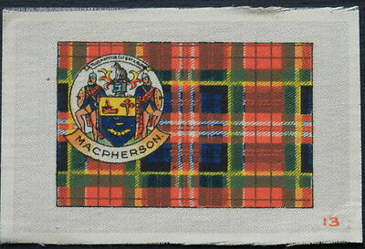 MACPHERSON Clan Tartan and Coat of Arms SILK card issued in 1922