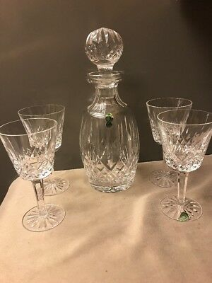 Waterford Leaded Crystal LISMORE Spirit Decanter w/Stopper & 4 Claret Wine Glass
